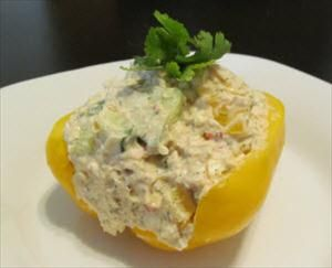 This extraordinary Greek Chicken Taziki Salad makes a perfect Phase 1 meal. Chop the pepper in half and dice the other half to add to your mixture along with chicken breast, 1/2 cup Greek yogurt, 1 tbsp.  hummus, 1/4 cup chopped cucumber and 1 tsp. dill weed. Healthy never tasted so good! - Contributed by South Beach Diet member Arien C.
