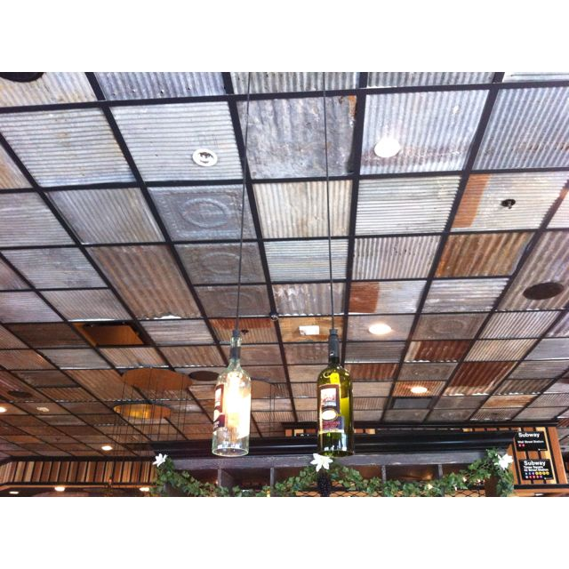 Corrugated metal ceiling -