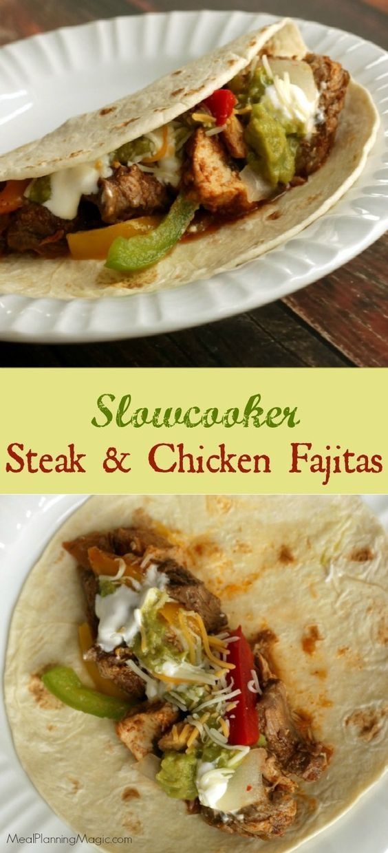 Simple Slowcooker Steak and Chicken Fajitas are a delicious and easy way to enjoy at Texas regional specialty. Perfect for a weeknight--or when company's visiting! #SundaySupper http://www.mealplanningmagic.com/simple-slowcooker-steak-and-chicken-fajitas-