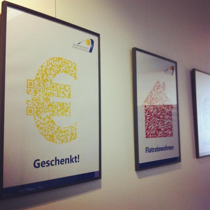 Das sind 2 der 6 Q-Art-Code Plakate, die für's Studentenwerk Essen-Duisburg entworfen wurden