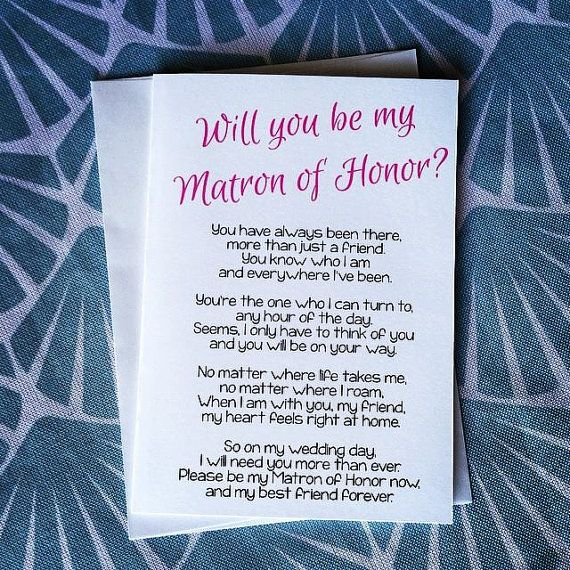 Will You Be My Matron Of Honor Poem Matron Of By