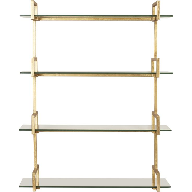 features iron frame finished in antiqued gold leaf tempered glass shelves brass