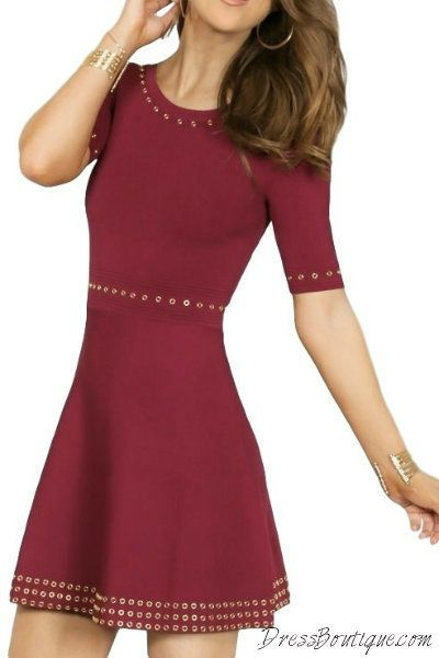Accented Maroon Skater Dress.