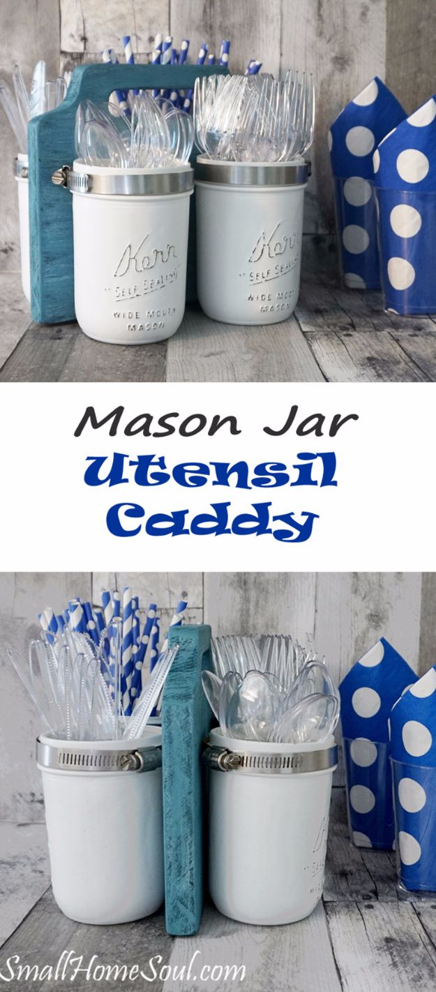 DIY Farmhouse Style Decor Ideas for the Kitchen - Mason Jar Utensil Caddy - Rustic Farm House Ideas for Furniture, Paint Colors, Farm House Decoration for Home Decor in The Kitchen - Wall Art, Rugs, Countertops, Lights and Kitchen Accessories http://diyjoy.com/diy-farmhouse-kitchen