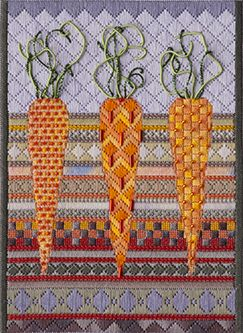 Carrots-Jennifer Reifenberg- NAN winner.  Cross stitch carrots