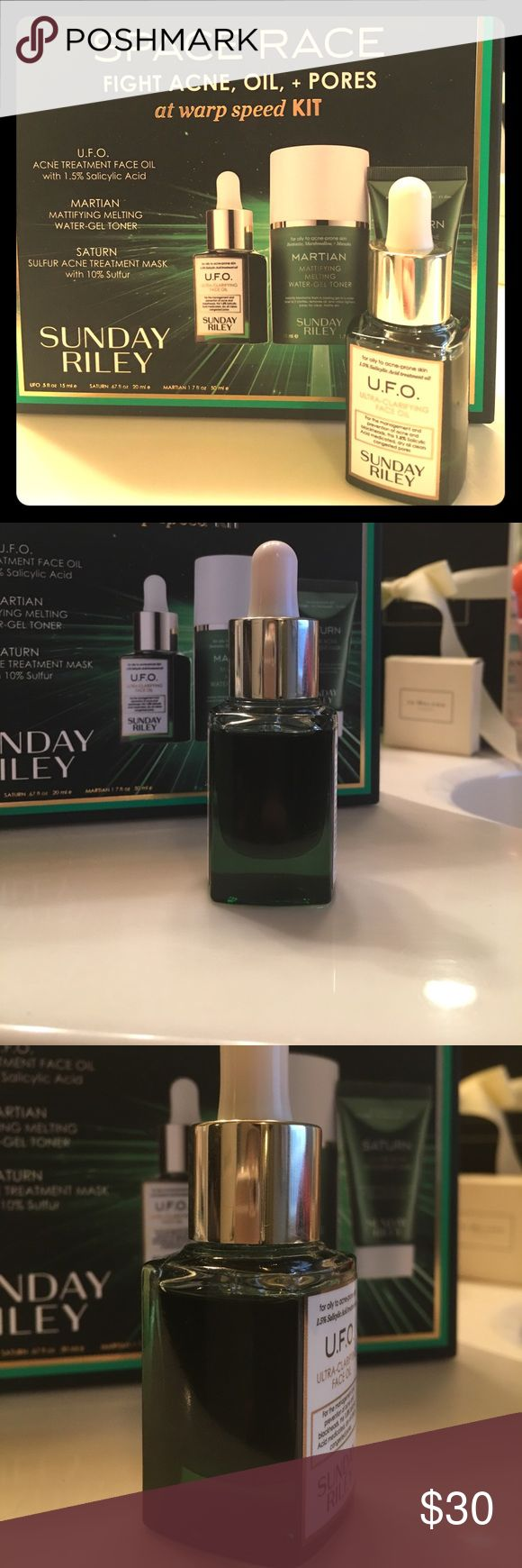 """Sunday Riley U.F.O. Ultra Clarifying Oil .5 fl oz """"With 1.5% salicylic acid, this fast acting, quick-drying, medicated oil clears acne and blackhead-causing buildup and debris from congested pores for smoother, blemish-free skin"""".... Hardly used (see photos)... Purchased less than a month ago. Sunday Riley Other"""