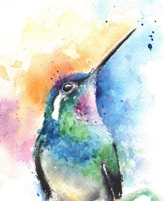 WATERCOLOR Hummingbird bird Art gift American Bird species wall art High Quality Bird Art Print Hummingbird /& Honeysuckle Painting