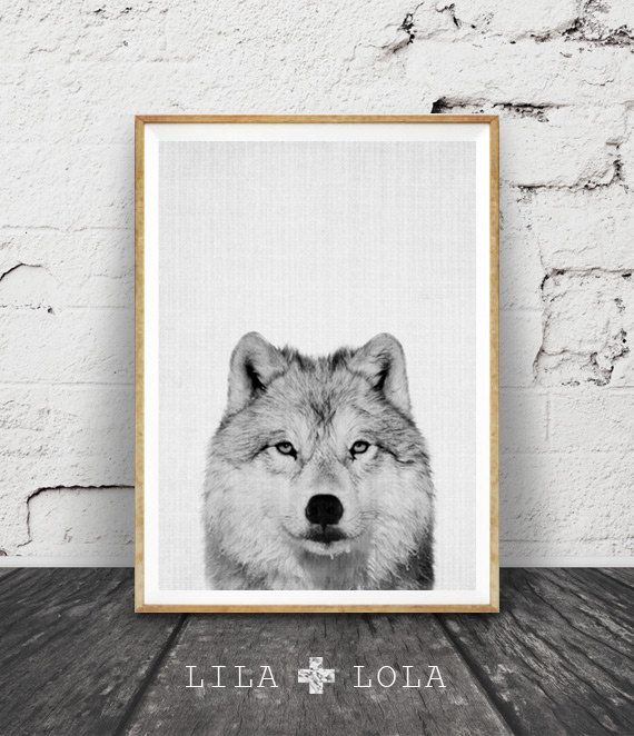 Wolf Print, Woodlands Nursery Animal Wall Art, Printable Nursery Woodlands Wolf…