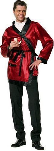 Buy New: $35.92 Our Costume Shop.com for all your Costume Needs, prices you can afford and Fast Shipping.: Mens Sexy Costume: Hugh Hefner Style Bachelor Smoking Jacket Robe Red