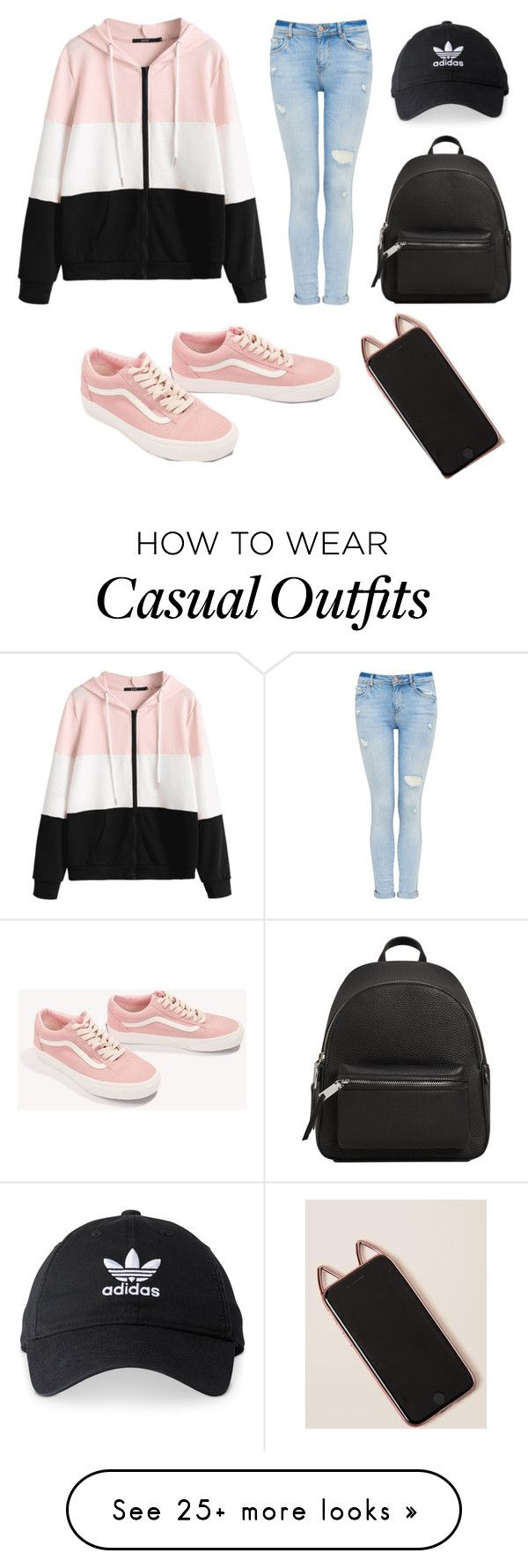 """""""Pastel Casual"""" by kawaiimeme on Polyvore featuring Vans, MANGO and adidas"""