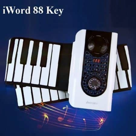 iWord 88 Key Professional Roll Up Piano With MIDI Keyboard        Description: Name: 88 Key Roll Up Piano Brand: iWord Model: S2088-88 Color: Red, White Demo songs: 21 127 kinds of rhythm 140 kinds of tones Input Power: DC6V Output power: 500MW Product size: 135*21.5CM Keyboard size:...