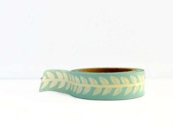 Duck Egg Blue Washi Tape / / Vintage Style Leaves / / Vine Pattern