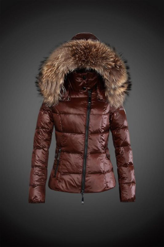 2015 Moncler Y 15 Fur Hooded down jacket for women in coffee