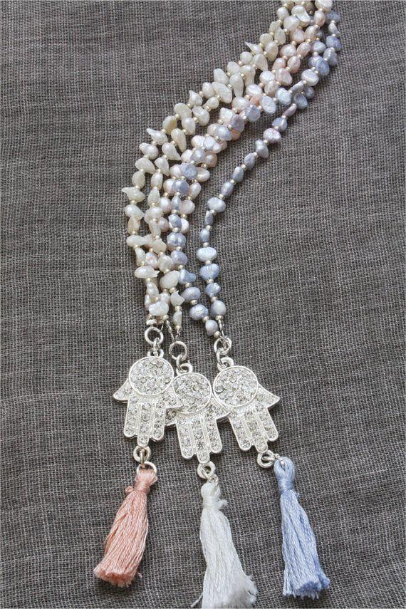 Pearl Hamsa tassel mala necklace | ThatsMineBijoux