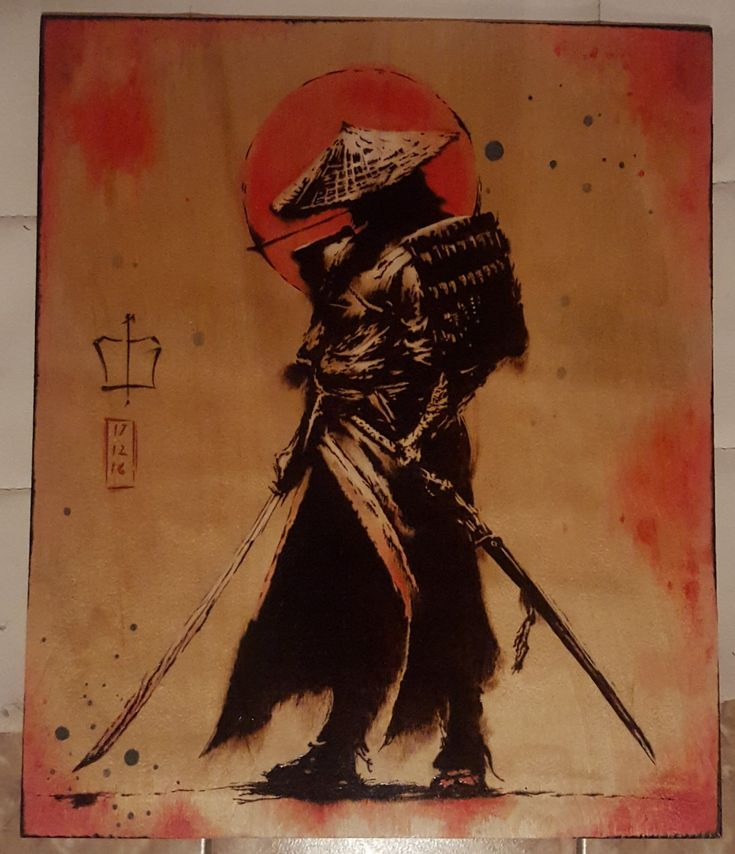 Samurai in trash polka style (coloured with aquarel pencil)