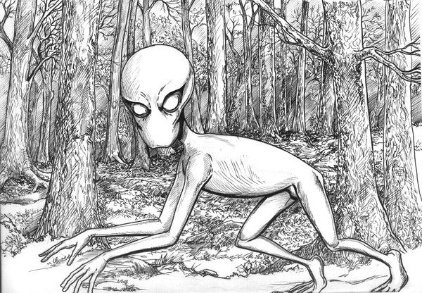 """""""The Dover Demon,"""" from a Cryptids Series, by Scott Woodard of StrangeView Studios"""