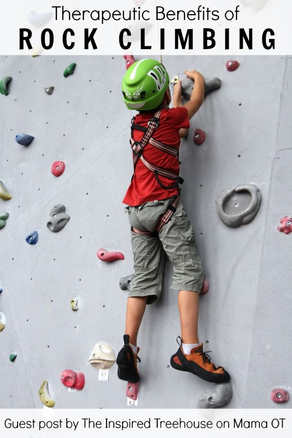 Learn all the reasons why rock climbing is such an amazing therapeutic and developmental activity for kids.  #childdevelopment #pediOT
