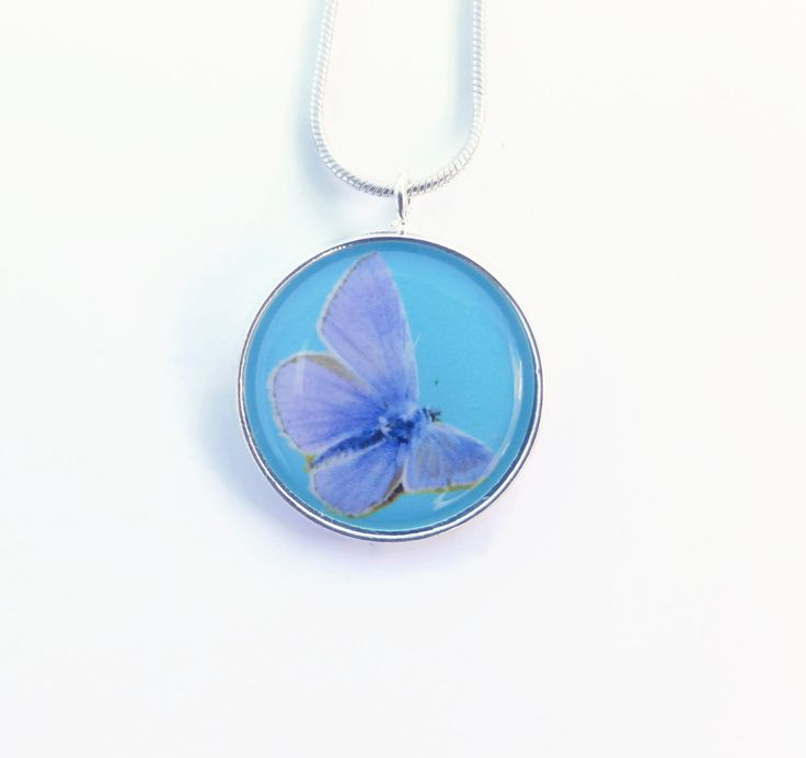 Butterfly Pendant Necklace, Blue Butterfly, Blue Necklace, Insect Jewelry, Gift For Her, Nature Necklace, Nature Jewelry, Woodland Necklace by Larryware on Etsy