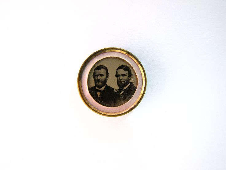 Pink and presidential politics combine in this 1868 campaign badge, supporting Ulysses S. Grant and Schuyler Colfax.