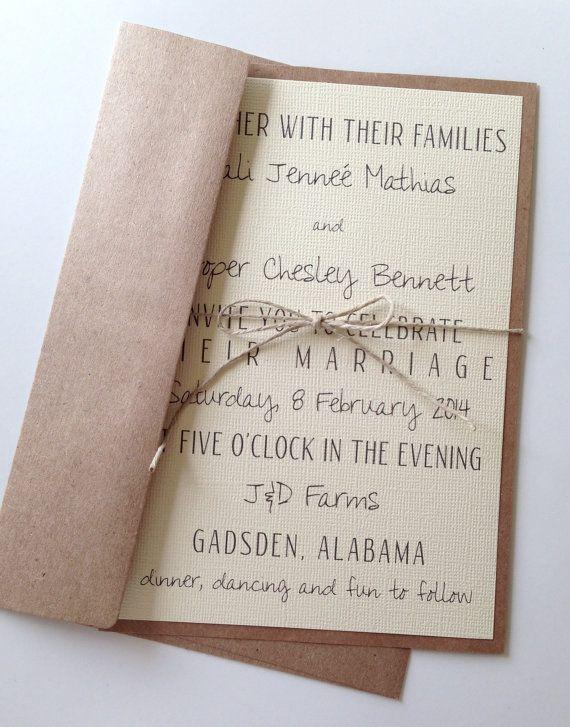 Invitations de mariage moderne rustique sur Etsy, 1,51€