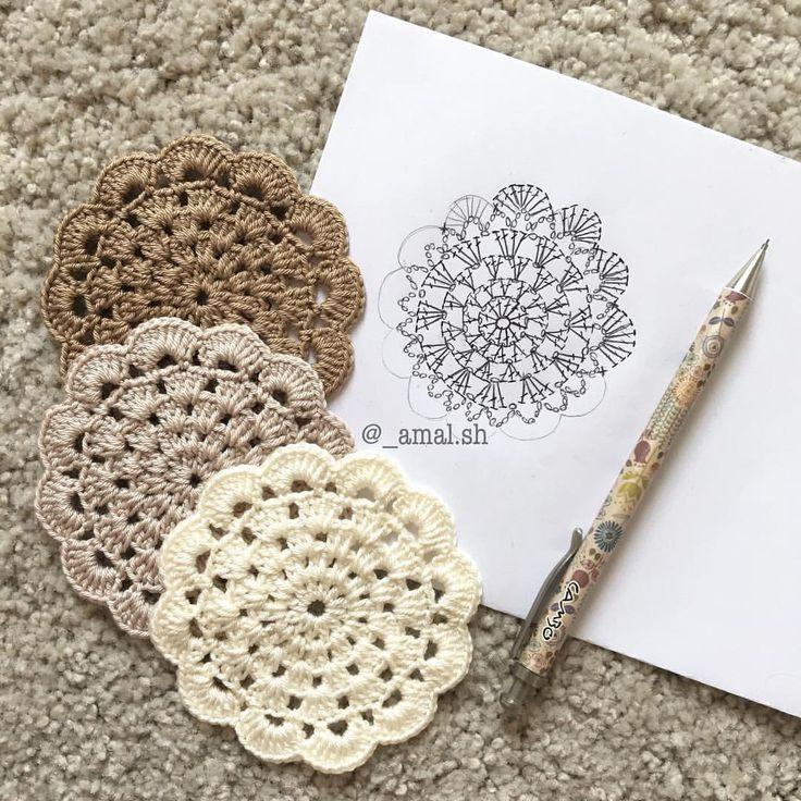 Sorry guyz for posting the pattern too late 😔 i was so busy the last few days 🙈 but i'm back now 💪🏻❤️ . . . #crochet #crochetaddict #crochetlove #instacrochet #art #DIY #craft #handmade #fashion #makeup #design #drawing #morning #white #ohwowyes #pattern #doily #yarn #girl #home #craftastherapy_lovecrochet #happy #صباح_الخير #تصميمي #كروشيه #خياطة #مفرش #بترون