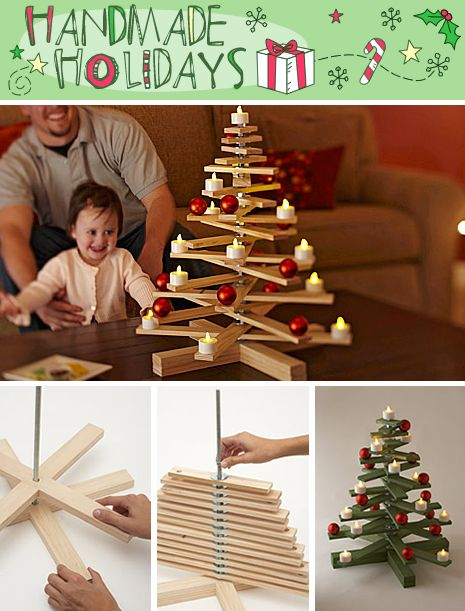 Great tutorial for a wooden Christmas Tree. It's made out of pine craft boards, nuts, and washers, all bolted together.