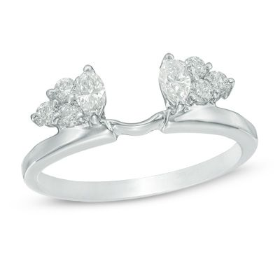 3/8 CT. T.W. Marquise Diamond Solitaire Enhancer in 14K White Gold - Save on…