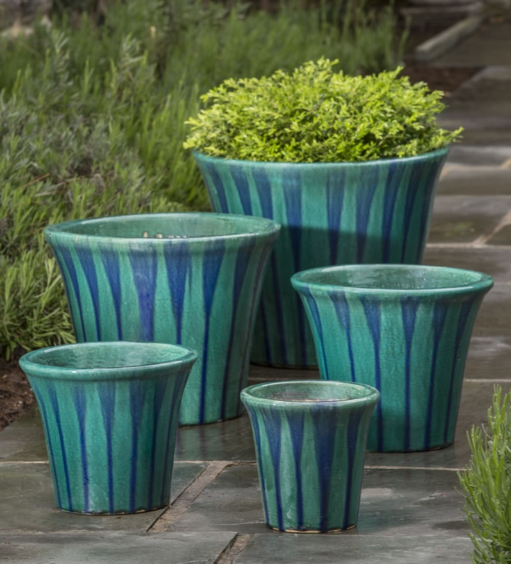 Delphine Planter Set Of 5 In Aqua Blue Tiger Glazed And 400 x 300