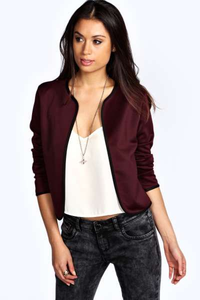 Clara Contrast Trim Scuba Jacket at boohoo.com