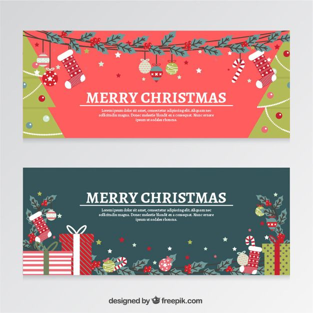 flat christmas banners with gifts and trees Free Vector