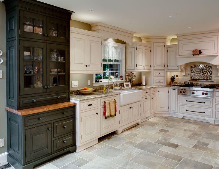 Traditional kitchen- custom hutch, apron sink, corner ...