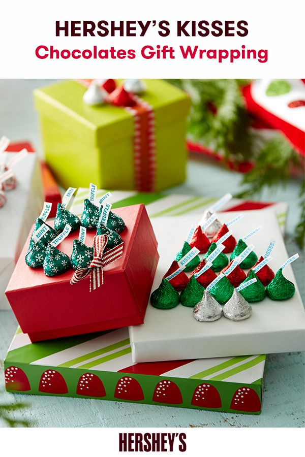 Give the sweetest gift this year with this fun and easy DIY HERSHEY'S KISSES Chocolates Gift Wrapping craft! Simply glue chocolates to wrapping paper, bows, and ribbons in a variety of designs like our cheerful tree, a wreath, a candy cane, or a stocking. Whether you make it simple or fancy, always make it sweet.