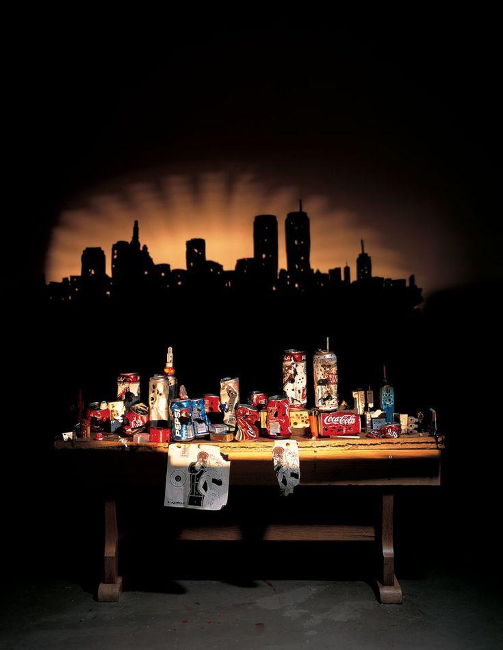amazing, art, Inspiration, junk, light, shadow, inspiration, creative, sunset_manhattan: Wooden Benches, Manhattan Skyline, Tim Noble, Sue Webster, Tins Cans, Dr. Suess, Shadowart, Shadow Art, Shadows Art