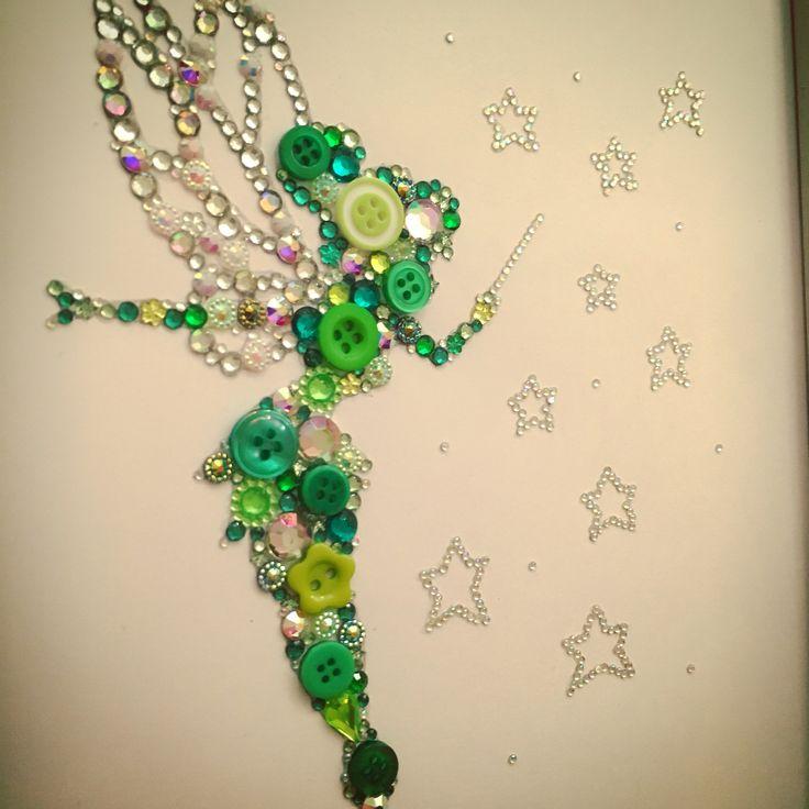 Handmade Tinkerbell  Disney  Swarovski crystal / button frame.  Easy order, see board description.