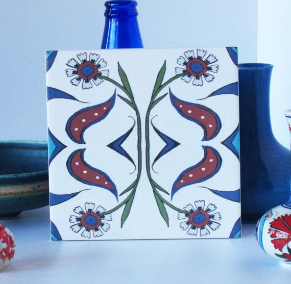 Ottoman Inspired Floral Ceramic Tile Trivet from Jacqueline Talbot Designs