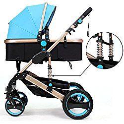 Belecoo™ Luxury Newborn Baby Foldable Anti-shock High View Carriage Infant Stroller Pushchair Pram(Blue)