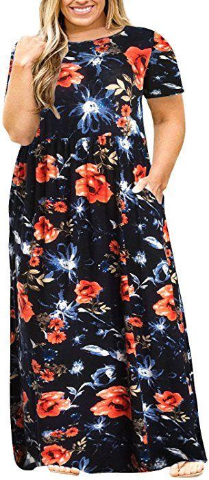 3cc80c5f6b Nemidor Women Short Sleeve Loose Plain Casual Plus Size Long Maxi Dress  with Pockets (073+Blueprint