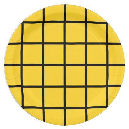 """Paper plate - Design : """"Grid"""" on yellow. - kitchen gifts diy ideas decor special unique individual customized"""