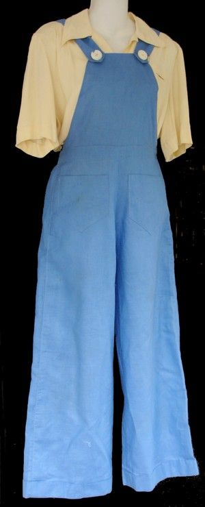 1940's overalls. Many women had been wearing pants for very casual occasions since the late 1920s, but it was the daily wearing of them during the war that made pants more accepted among women.