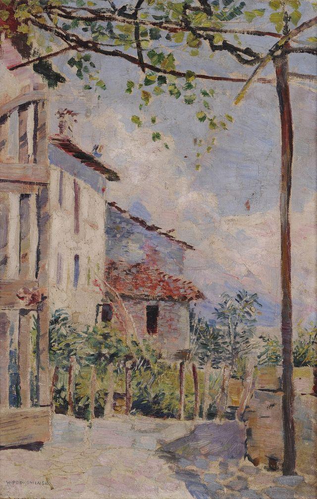 24.  Podkowiński Władysław, Południowy pejzaż, ok. 1890, olej na płótnie, 42,5 x 28,5 cm, nr inw. MNG/SD/695/M