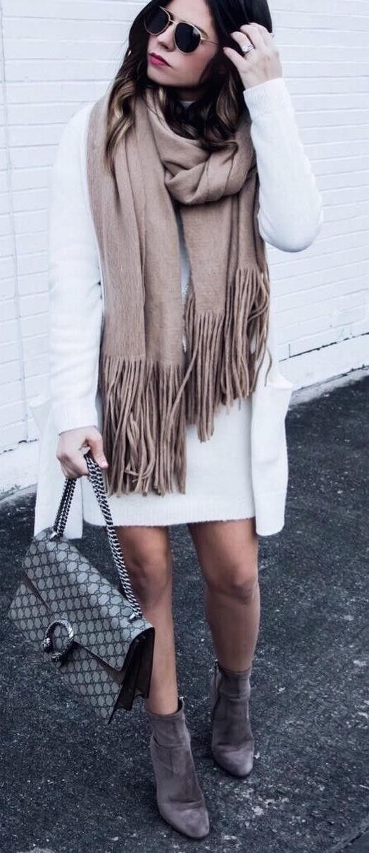 what to wear with a nude scarf : white cardi + dress + bag + boots