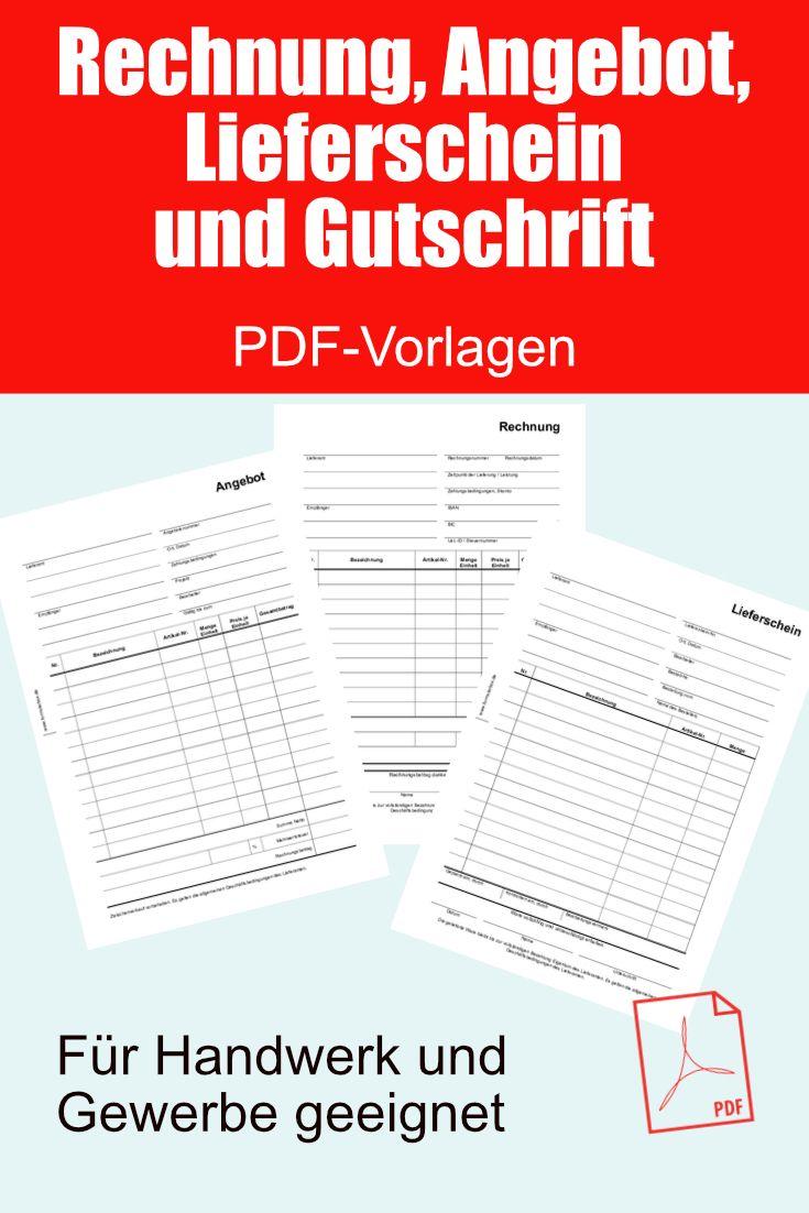 Rechnung Angebot Lieferschein Und Gutschrift Als Pdf Datei In 2020 Rechnung Vorlage Rechnungsvorlage Vorlagen
