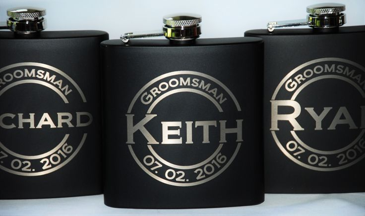 7 engraved Flasks, Groomsmen flask, Best man flask, Custom engraved 6oz flask., flask, personalized flask, by MemoriesMadeCustom on Etsy