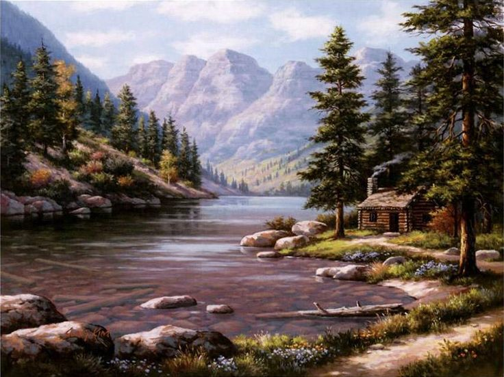 Log Cabin Paintings Google Search Paintings Of
