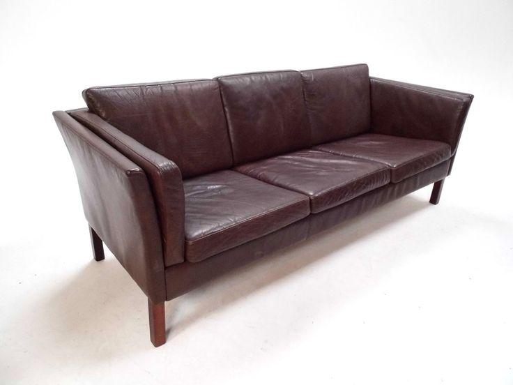 Mid Century Danish Dark Brown Leather Three Seater Sofa 1960s