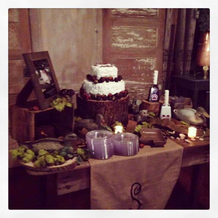 Drew's cake table. MSU, hunting, and rustic themed, with ...