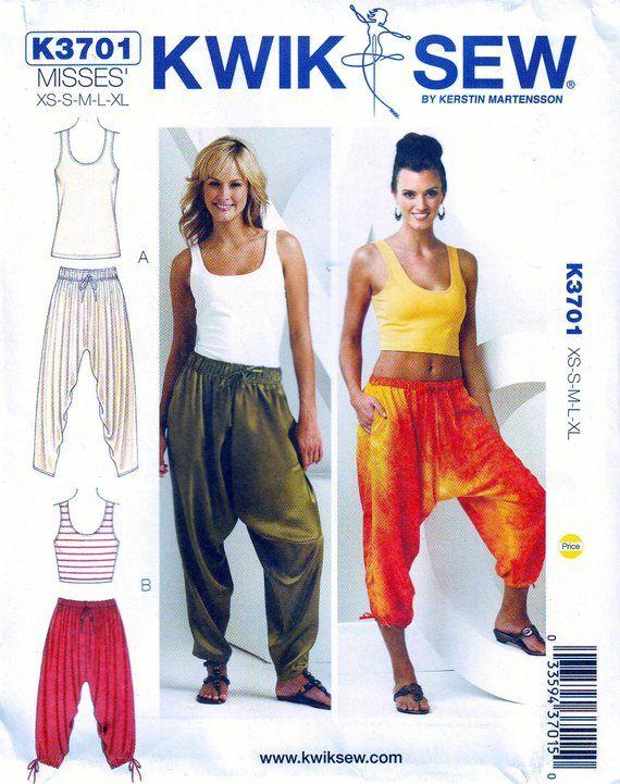 Kwik Sew Pattern 3701 Misses Harem Pants And Tank Tops Misses
