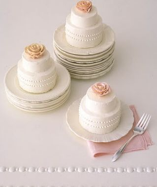 How cute! Cupcakes or mini wedding cakes look adorable on a cupcake stand.: Rose Wedding Cake, Minis Wedding Cake, Martha Stewart, Bridal Shower, Mini Wedding Cakes, Rose Cake, Minis Cake, Small Cake, Mini Cakes