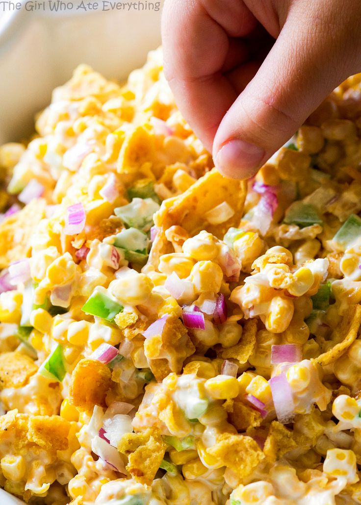 Frito Corn Salad - this is your game day recipe. Corn, Fritos, peppers, and onion. So good!