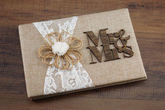 Libro de boda rústica arpillera y encaje Guestbook libro de